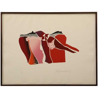 "1970s Vintage John Chamberlain ""Three Cornered Desire"" Monoprint For Sale"