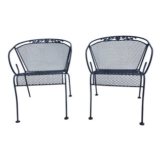 Vintage Wrought Iron Barrel Back Garden Patio Dining Arm Chair - a Pair For Sale