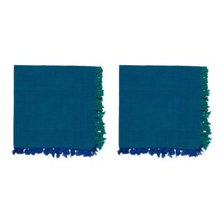 Two -Tone Napkins, Cobalt & Teal - A Pair For Sale