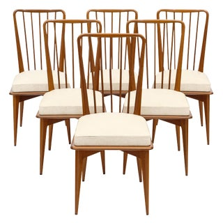Mid-Century Danish Modern Cherry Wood Dining Chairs - Set of 6 For Sale
