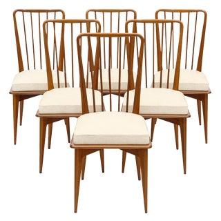 Mid-Century Danish Modern Cherry Wood Dining Chairs - Set of 6