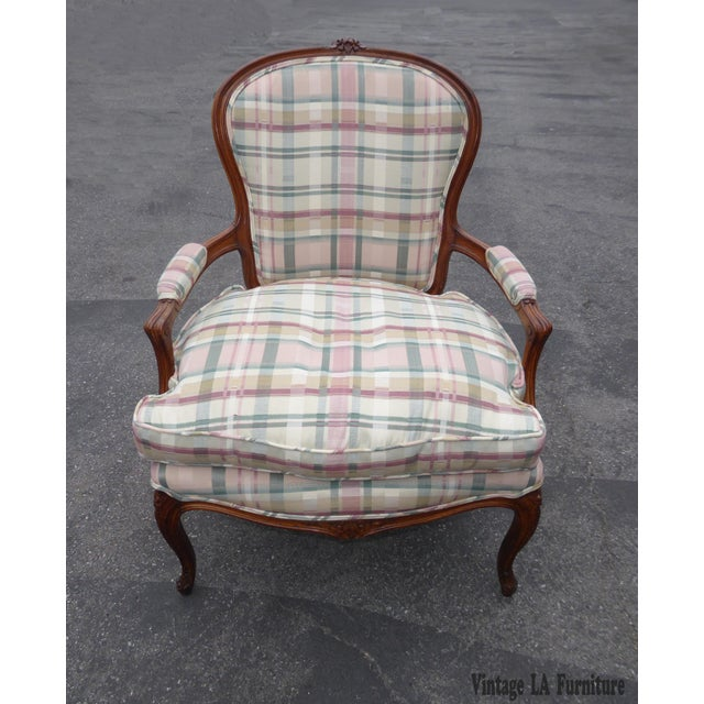 Vintage French Country Carved Wood & Plaid Arm Chair - Image 2 of 11
