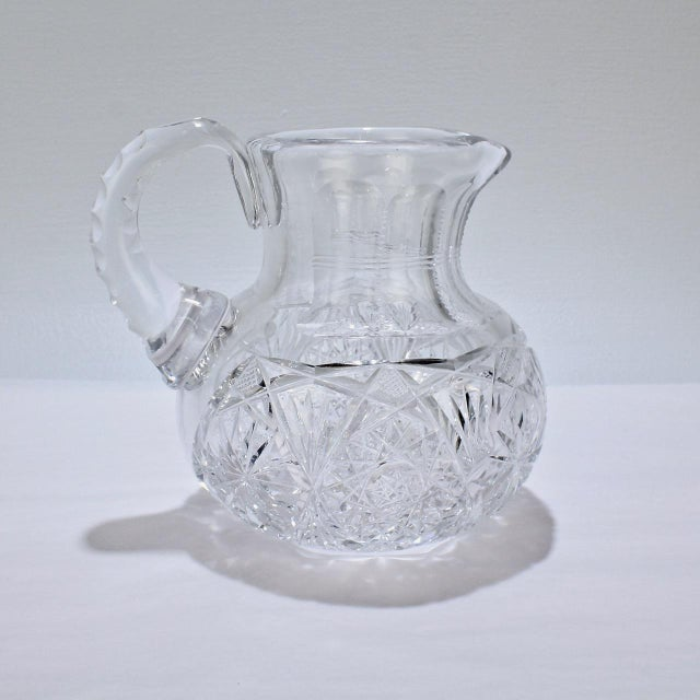 Small Antique Squat Cut Glass Juice or Cocktail Pitcher For Sale - Image 12 of 13