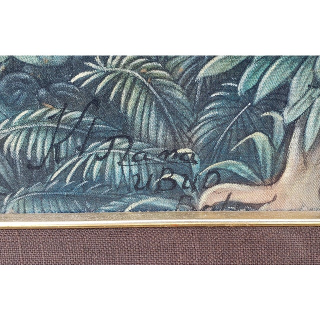 """Up for sale is a Circa 1970 Balinese Ubud Marketplace Scene Painting on Canvas by K. Nana! It measures 62 3/8"""" wide, 42..."""