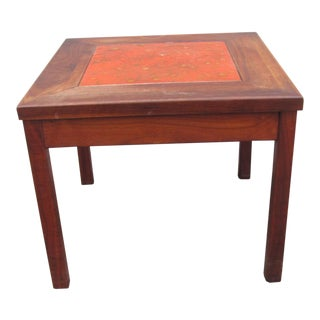 Walnut and Enameled Copper Side Table by John Keal for Brown Saltman of California For Sale