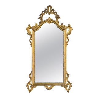 Antique Italian Rococo Style Carved Giltwood Mirror For Sale