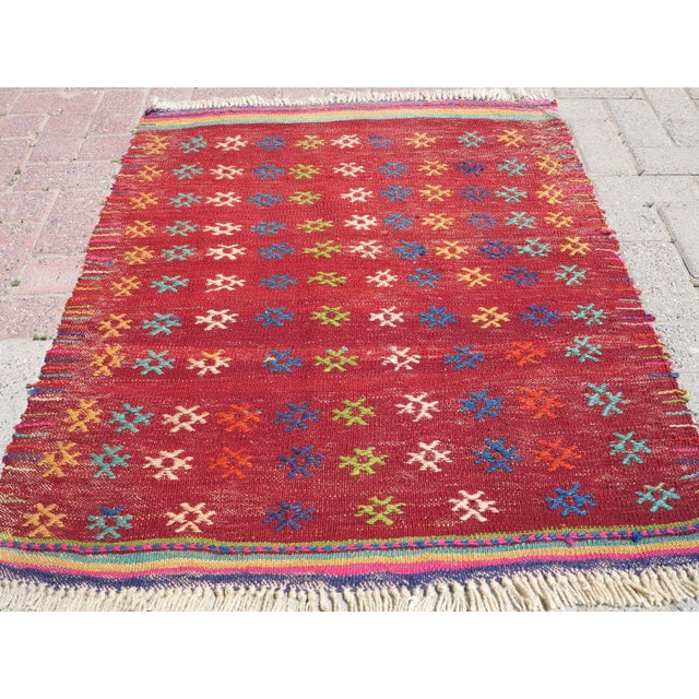 Vintage Turkish Kilim Rug - 3′ × 3′8″ - Image 3 of 8