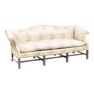 1960s Edwardian Scalamandre Silk and Mahogany Sakura Chinoiserie Camelback Sofa