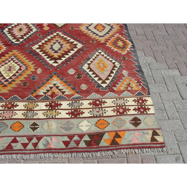 Vintage Turkish Kilim Rug - 5′9″ × 8′2″ For Sale - Image 10 of 11