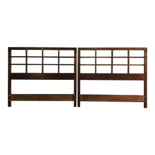 Campaign Style Mid Century Head Boards - a Pair For Sale