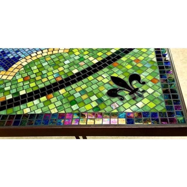 Blue Boho Chic Mosaic Fleur-De-Lis Sunburst Tile Top Table For Sale - Image 8 of 13