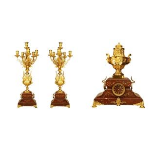 French Victorian Three-Piece Set With a Clock and Candelabra For Sale