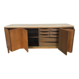 1960s Mid-Century Modern Paul McCobb Travertine and Mahogany Credenza Sideboard For Sale