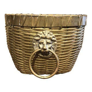 Midcentury Brass Bowl With Lions For Sale