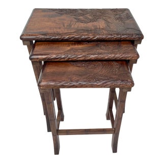 Vintage Hand-Carved Wood Cherry Blossom Asian Nesting Tables For Sale