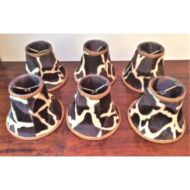 Brown Silk-Lined Velvet Cow Hide Pattern Lamp Shades for Chandelier or Sconces - Set of 6 For Sale - Image 8 of 10