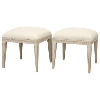 Pair of Swedish Gustavian Painted Stools, Mid-19th Century