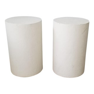 Vintage Postmodern Plastered Wood Round Pedestals - A Pair For Sale