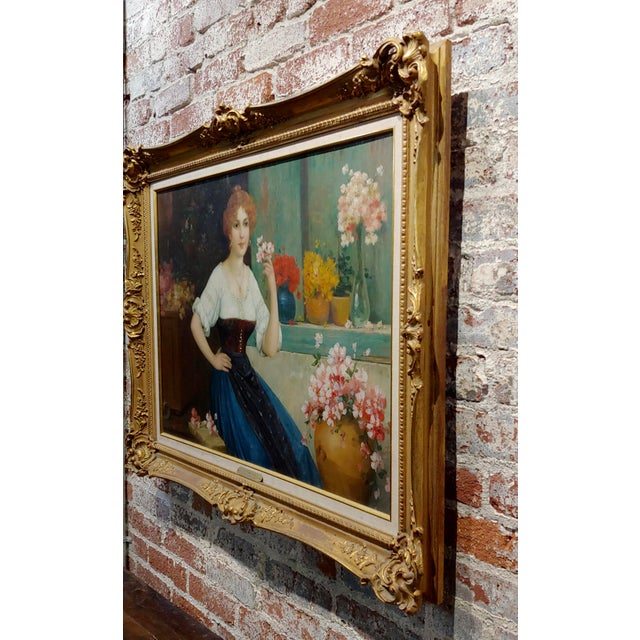"""Luis Doret """"The Beautiful Flower Girl"""" Oil Painting, 19th Century For Sale - Image 9 of 11"""