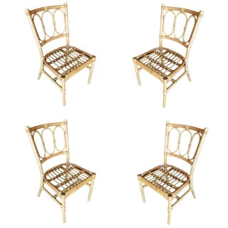 Restored Mid-Century Three Ring Rattan Dining Side Chair, Set of Four For Sale