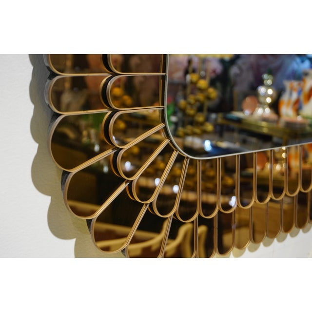 Not Yet Made - Made To Order Contemporary Italian Scalloped Double Frame Silvered Bronze Murano Glass Mirror For Sale - Image 5 of 11