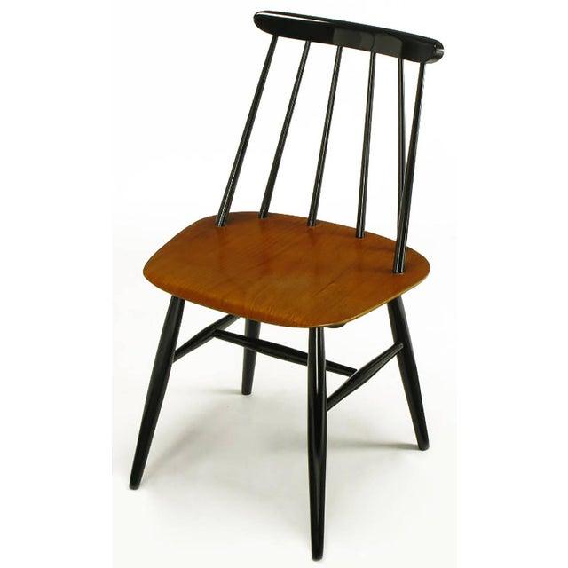 Edsby-verken Six Ilmari Tapiovaara Teak and Black Lacquer Dining Chairs For Sale - Image 4 of 9