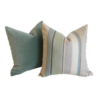 Osborne & Little Pillow Covers: Spiaggia & Coordinating Velvet Solid - a Pair For Sale