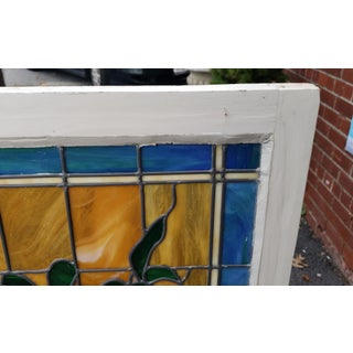 Vintage 1940s Stained Leaded Glass Hanging Window Panel 24 X 48 Preview
