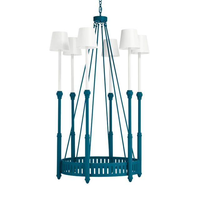 Casa Cosima Camilla Chandelier, Blue Danube with White Shades For Sale - Image 4 of 4