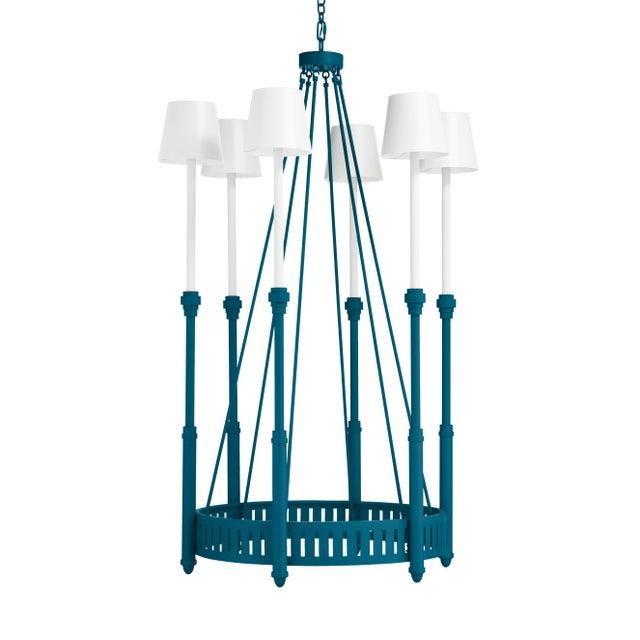 Casa Cosima Designers' Palette Camilla Chandelier, Blue Danube with White Shades For Sale - Image 4 of 4