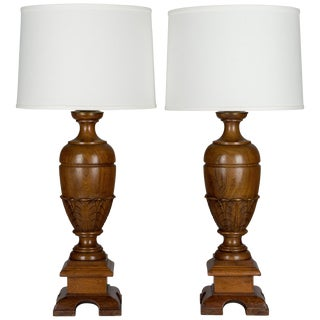 Pair of French Walnut Baluster Form Lamps For Sale