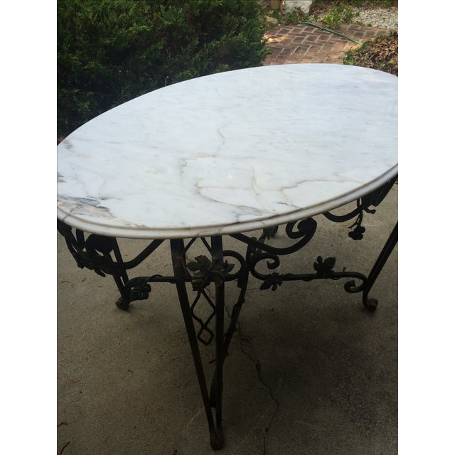 Solid Marble Top Beveled Wrought Iron Table - Image 6 of 10