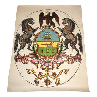 Early 20th Century Antique Pennsylvania Coat of Arms Lithograph Print For Sale