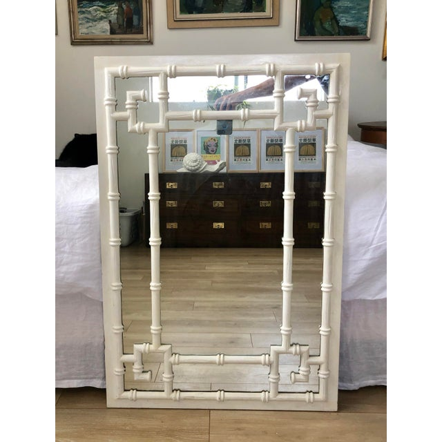 White Vintage White Faux Bamboo Greek Key Wall Mirror For Sale - Image 8 of 9