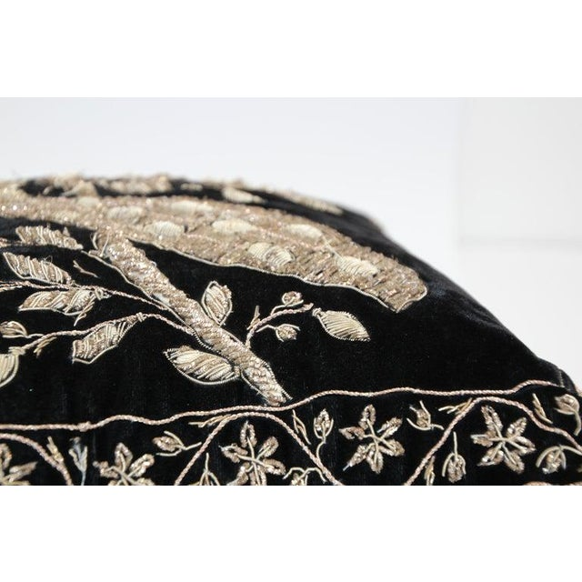Black Velvet Throw Pillow Embroidered With Metallic Gold Threads For Sale - Image 4 of 13