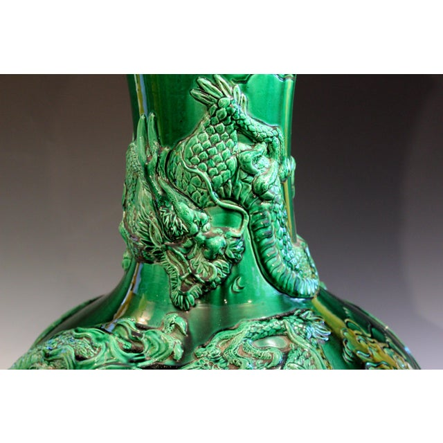 """Asian Antique Japanese Awaji Pottery Green Dragon Vase 25"""" For Sale - Image 3 of 11"""