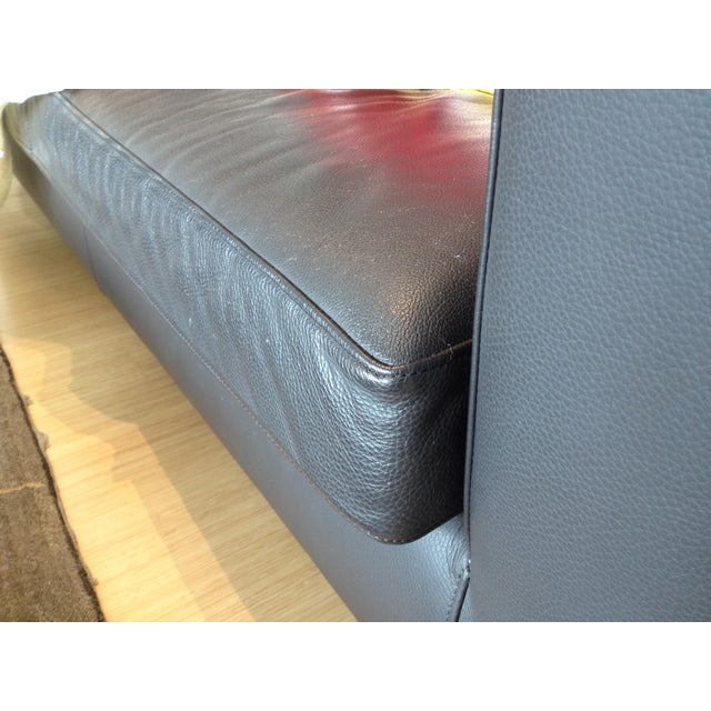 Verdesign Dark Grey Leather Modern Sofa & Ottoman - Image 10 of 11