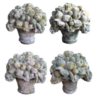A Delightful Set of Four French Cast Stone Compotes For Sale