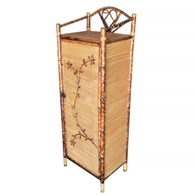 Traditional Restored Aesthetic Movement Tiger Bamboo Linen Cabinet With Rice Mat Covering For Sale - Image 3 of 8