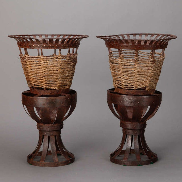 Pair 1930's French Iron & Woven Jute Jardinières Planters - Image 2 of 3