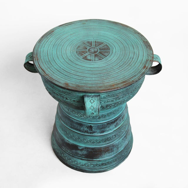 "Verdigris copper rain drum side table. The top area is 20"" diameter. This beautiful piece is great indoors or out!"