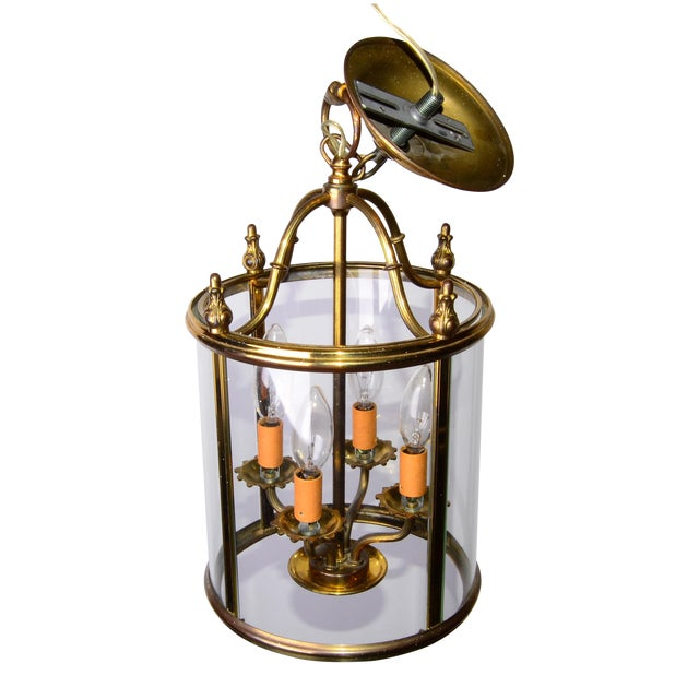 Round 4-Light Glass & Brass Chandelier - Image 1 of 8