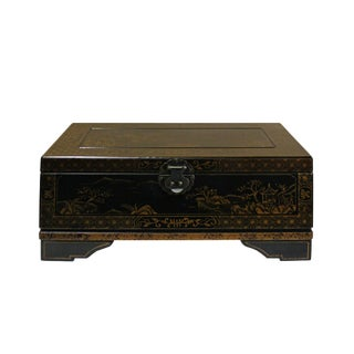 Chinese Golden Black Base Scenery Graphic Wood Trunk Box For Sale