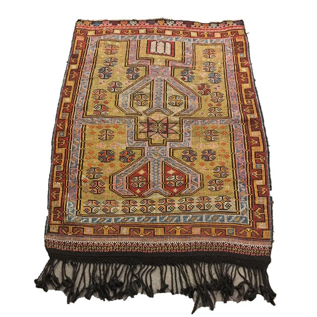 1900s TurkishVintag Colorful Tribal Wool Kilim Rug For Sale - Image 13 of 13