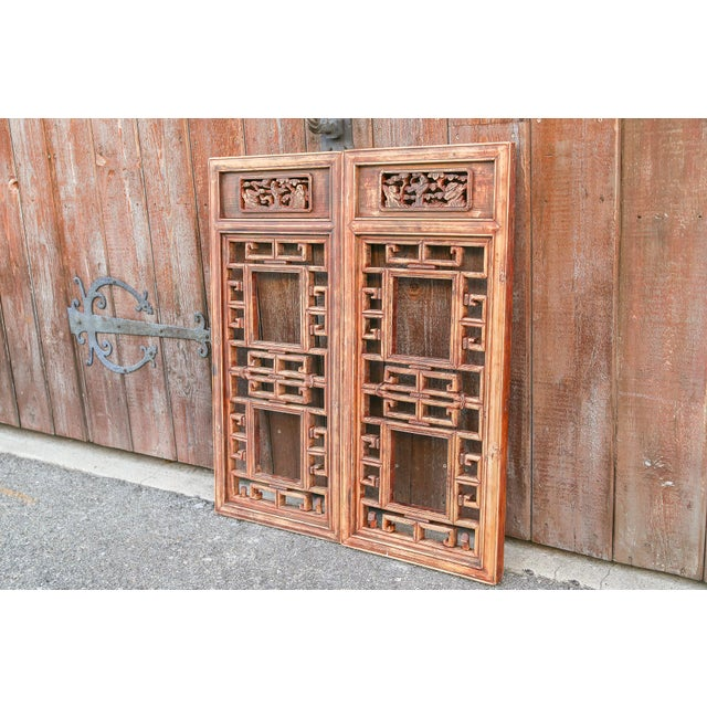 Asian Vintage Asian Lattice Carved Window Panels, Set of Two For Sale - Image 3 of 9