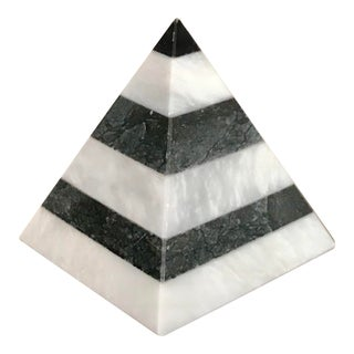 Gray and White Striped Marble Pyramid For Sale