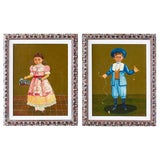 Image of Agapito Labios Boy and Girl Mexican Folk Art Paintings For Sale