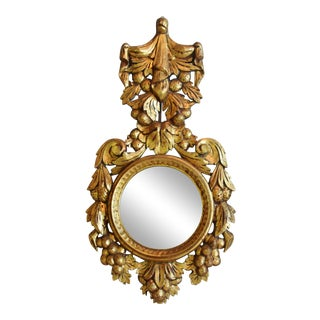 Hollywood Chic 1950s Giltwood Carved Italian Mirror For Sale