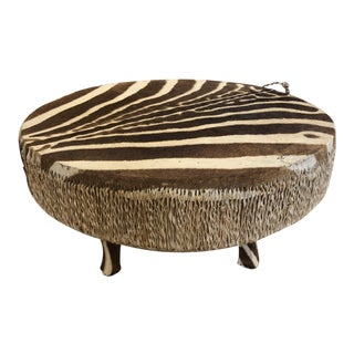 Vintage Zebra Hide Drum Table For Sale
