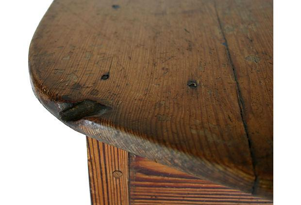 Late 19th Century Hand Hewn Yellow Pine Table With Doweled Mortise And Tenon